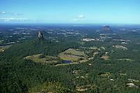 Australia, Queensland, Glasshouse Mtns., Mt. Coonowrin (left) and Mt. Tibrogargan (right)