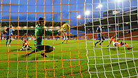 Portsmouth's Luke McGee gets a glove to the shot from Blackpool's Viv Solomon-Otabor but can't keep it out<br /> <br /> Photographer Alex Dodd/CameraSport<br /> <br /> The EFL Sky Bet League One - Blackpool v Portsmouth - Saturday 11th November 2017 - Bloomfield Road - Blackpool<br /> <br /> World Copyright &copy; 2017 CameraSport. All rights reserved. 43 Linden Ave. Countesthorpe. Leicester. England. LE8 5PG - Tel: +44 (0) 116 277 4147 - admin@camerasport.com - www.camerasport.com