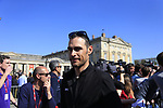 Manuel Quinziato (ITA) BMC Racing Team at the Team Presentation for the upcoming 115th edition of the Paris-Roubaix 2017 race held in Compiegne, France. 8th April 2017.<br /> Picture: Eoin Clarke | Cyclefile<br /> <br /> <br /> All photos usage must carry mandatory copyright credit (&copy; Cyclefile | Eoin Clarke)