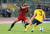12th September 2017, Stadio Olimpic, Rome, Italy; UEFA Champions League between AS Roma versus Club Atletico de Madrid  Gregoire Defrel cust back on Felipe Luis ; the game ended on a 0-0 draw