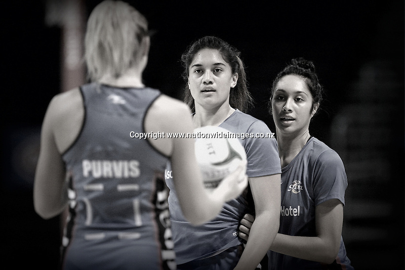 Southern Steel's Storm Purvis, left, Sulu Tone-Fitzpatrick and Phoenix Karaka warm up prior to the match against the Tactix in the ANZ Championship netball match, CBS Canterbury Arena, Christchurch, New Zealand, Saturday, March 30, 2013. Credit:NINZ/Dianne Manson