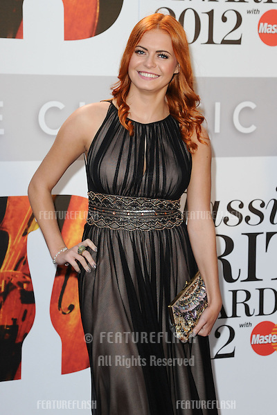 Sophie Evans arriving for the Classic Brit Awards 2012 at the Royal Albert Hall, London. 02/10/2012 Picture by: Steve Vas / Featureflash