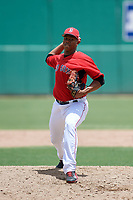 GCL Red Sox relief pitcher Juan Morillo (38) delivers a pitch during a game against the GCL Orioles on August 9, 2018 at JetBlue Park in Fort Myers, Florida.  GCL Red Sox defeated GCL Orioles 10-4.  (Mike Janes/Four Seam Images)