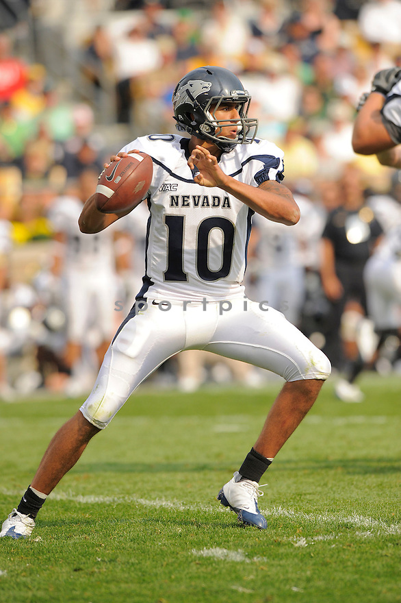 COLIN KAEPERNICK, of the University of Nevada Wolf Pack , in action during the Wolf Pack game against the Notre Dame Irish in South Bend, IN, on September 05, 2009.  Notre Dame  wins 35-0.