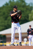 Batavia Muckdogs starting pitcher Chris Vallimont (32) gets ready to deliver his first pitch during a game against the West Virginia Black Bears on July 1, 2018 at Dwyer Stadium in Batavia, New York.  Batavia defeated West Virginia 8-4.  (Mike Janes/Four Seam Images)
