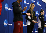 19 MAR 2016: Kasia Wilk of USC smiles after receiving her third place trophy after competing in the 100 Yard Freestyle final during the Division I Women's Swimming & Diving Championship held at the Georgia Tech Aquatic Center in Atlanta, GA. David Welker/NCAA Photos