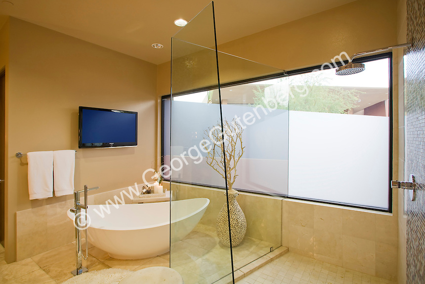 Modern Luxury Master Bath With Flat Screen TV And Soaking Tub Stock Photo Of