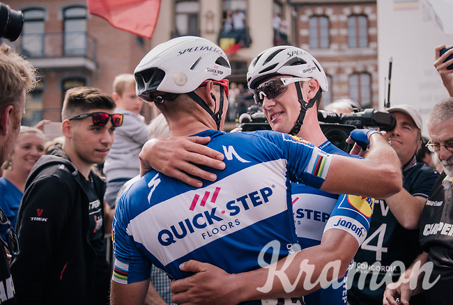 Yves Lampaert (BEL/Quick-Step Floors) congratulated by teammate & runner-up Philippe Gilbert (BEL/Quick Step floors) after the finish<br /> <br /> Belgian National Championships 2018 (road) in Binche (224km)<br /> ©kramon