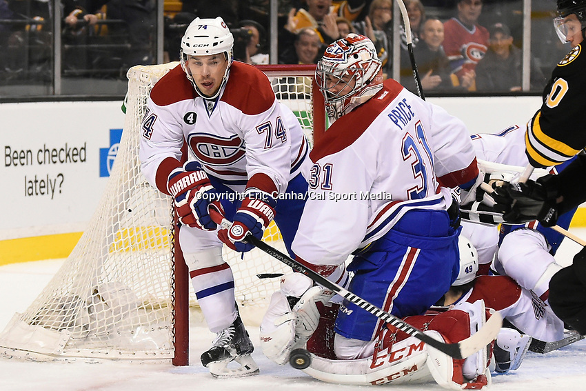 February 8, 2015 - Boston, Massachusetts, U.S. - Montreal Canadiens defenseman Alexei Emelin (74) and goalie Carey Price (31) in game action during the NHL game between the Montreal Canadiens and the Boston Bruins held at TD Garden in Boston Massachusetts. The Canadiens defeated the Bruins 3-1 in regulation time. Eric Canha/CSM