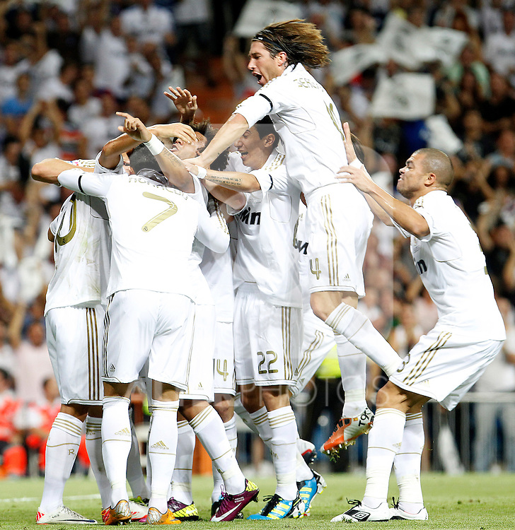Real Madrid's Mesut Ozil, Cristiano Ronaldo, Karim Benzema, Marcelo Vieira, Angel Di Maria, Sergio Ramos and Pepe celebrates goal during Spanish Supercup 1st match.August 14,2011. (ALTERPHOTOS/Acero)