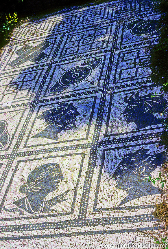 Italy: Ostia--Mosaic Floor, Corporation Stall. Heads of men and women represent the four winds and the four great provinces of Rome--Sicily, Egypt, Africa and Spain (1st Century B.C. - A. D.  Photo '83.