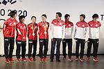 (L-R) Ayane Kurihara, Akane Yamaguchi, Misaki Matsutomo, Ayaka Takahashi,  Shinzo Abe, Kenta Kazuno, Hiroyuki Endo, Kenichi Hayakawa (JPN), <br /> AUGUST 21, 2016 - : <br /> Japanese prime minister Shinzo Abe attended the exchange meeting with Japan National team member and <br /> their medalist<br /> at Japan House in Rio de Janeiro <br /> during the Rio 2016 Olympic Games in Rio de Janeiro, Brazil. <br /> (Photo by Yusuke Nakanishi/AFLO SPORT)