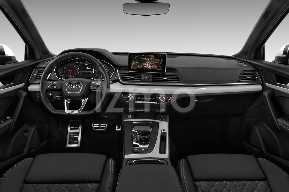 Stock photo of straight dashboard view of a 2018 Audi SQ5 Premium Plus 5 Door SUV