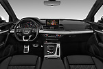 Stock photo of straight dashboard view of a 2018 Audi SQ5 Premium Plus 5 Door SUV