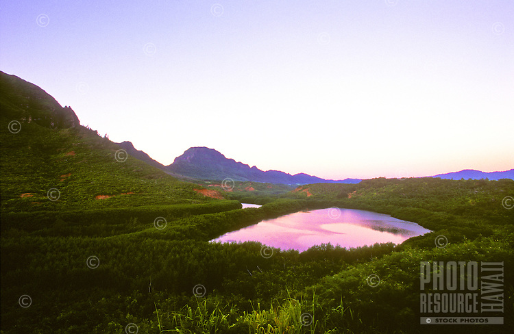 Menehune fishpond late in the day on the island of Kauai