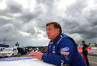 Mar. 9, 2012; Gainesville, FL, USA; NHRA pro stock driver Larry Morgan during qualifying for the Gatornationals at Auto Plus Raceway at Gainesville. Mandatory Credit: Mark J. Rebilas-