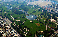 Aerial of golf course in Dubai U.A.E. in downtown  thriving new United Arab Emirates in Middle East in Gulf States