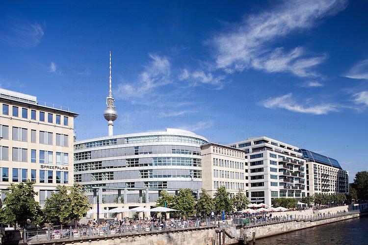 Spree river East bank opposite Museuminsel, Berlin, Germany