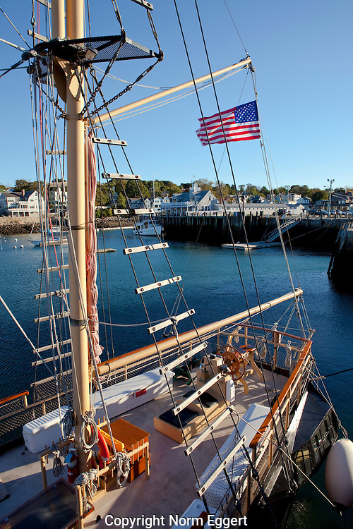 The pirate ship Formidable is docked in Rockport, Massachusetts