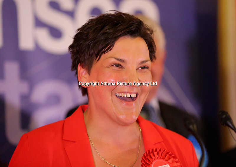 Pictured: Labour candidate for Gower constituency Tonia Antoniazzi gives a speech after her win was announced.  Friday 09 June 2017<br />Re: Counting of ballots at Brangwyn Hall for the general election in Swansea, Wales, UK