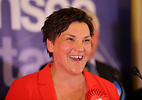 Pictured: Labour candidate for Gower constituency Tonia Antoniazzi gives a speech after her win was announced.  Friday 09 June 2017<br />