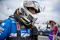 Feb 9, 2020; Pomona, CA, USA; NHRA top fuel driver Leah Pruett during the Winternationals at Auto Club Raceway at Pomona. Mandatory Credit: Mark J. Rebilas-USA TODAY Sports