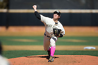 Wake Forest Demon Deacons starting pitcher Parker Dunshee (36) delivers a pitch to the plate against the Virginia Tech Hokies at Wake Forest Baseball Park on March 7, 2015 in Winston-Salem, North Carolina.  The Hokies defeated the Demon Deacons 12-7 in game one of a double-header.   (Brian Westerholt/Four Seam Images)