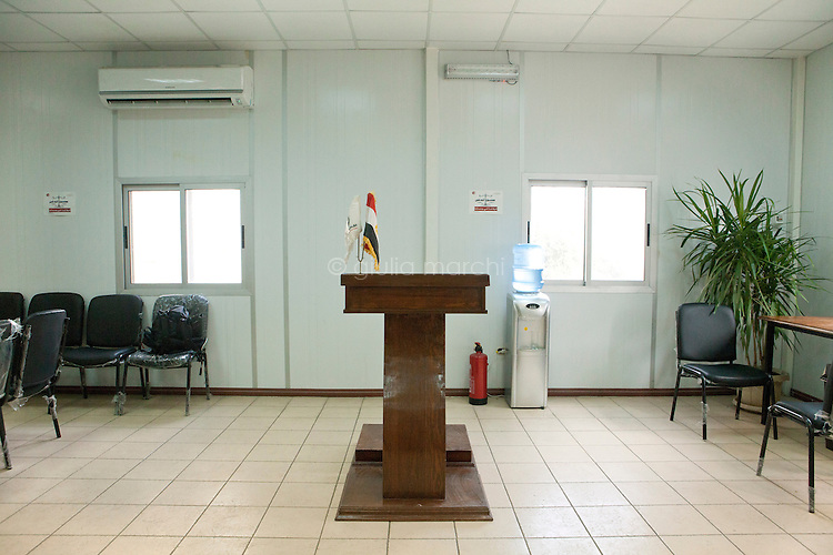 Podium in a conference room in Freedom and Justice Party headquarters in Downtown, Cairo. Egypt, October 2012.