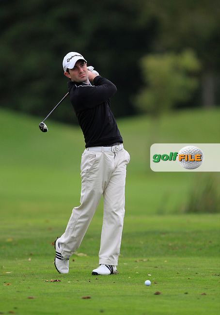 Brendan Walton (Island G.C) on the 15th tee during Round 4 of The Cassidy Golf 103rd Irish PGA Championship in Roganstown Golf Club on Sunday 13th October 2013.<br /> Picture:  Thos Caffrey / www.golffile.ie