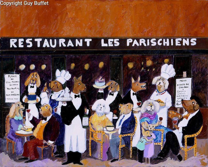 &quot;Restaruant Les Parischiens&quot;<br /> Limited Edition Giclee 16x20<br /> SN Paper $950<br /> SN Canvas $950<br /> AP Paper w/Original Watercolor Remarque $1550<br /> Wonderful restaurant piece with Guy's imaginary canine lunchtime crowd in Paris!