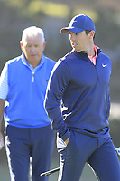 Rory and Gerry McIlroy (NIR) at the 1st green during Thursday's Round 1 of the 2018 AT&amp;T Pebble Beach Pro-Am, held over 3 courses Pebble Beach, Spyglass Hill and Monterey, California, USA. 8th February 2018.<br /> Picture: Eoin Clarke | Golffile<br /> <br /> <br /> All photos usage must carry mandatory copyright credit (&copy; Golffile | Eoin Clarke)