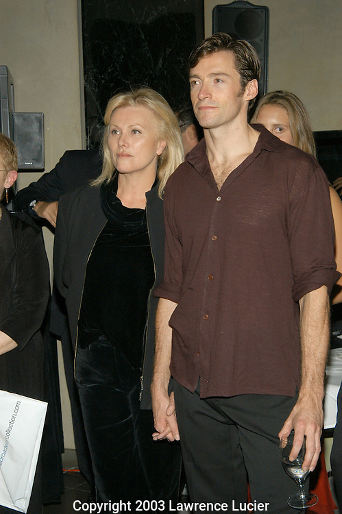 NEW YORK - SEPTEMBER 24: Actors Deborah-Lee Furness and Hugh Jackman appear September 24, 2003, at the Film Aid International Benefit at Ian Schrager's Royalton Hotel in New York City.