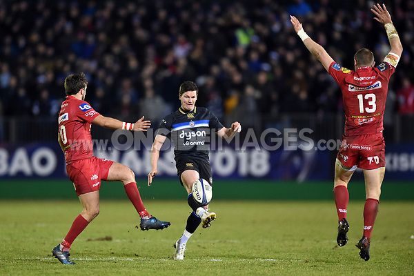 Freddie Burns of Bath Rugby kicks for territory. European Rugby Champions Cup match, between Bath Rugby and the Scarlets on January 12, 2018 at the Recreation Ground in Bath, England. Photo by: Patrick Khachfe / Onside Images