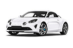 Stock pictures of low aggressive front three quarter view of 2019 Alpine A110 Pure 2 Door Coupe Low Aggressive