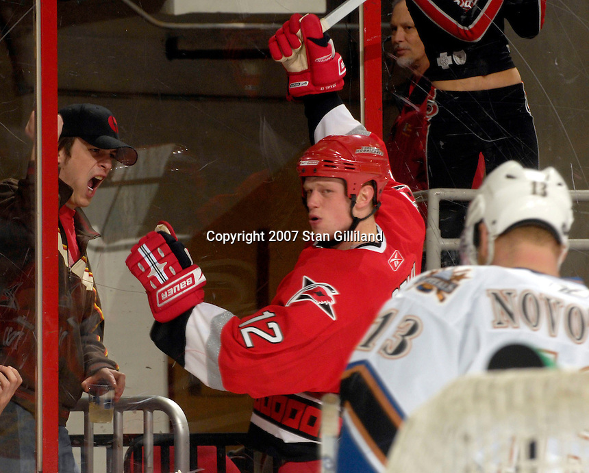 Carolina Hurricanes' Eric Staal celebrates a goal against the Washington Capitals Thursday, March 22, 2007 at the RBC Center in Raleigh, NC. Carolina won 4-3.