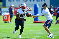July 28, 2017: New England Patriots running back James White (28) does a drill at the New England Patriots training camp held at Gillette Stadium, in Foxborough, Massachusetts. Eric Canha/CSM