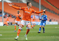 Blackpool's Chris Long shows his frustration after a misplaced pass<br /> <br /> Photographer Kevin Barnes/CameraSport<br /> <br /> The EFL Sky Bet League One - Blackpool v Gillingham - Saturday 4th May 2019 - Bloomfield Road - Blackpool<br /> <br /> World Copyright © 2019 CameraSport. All rights reserved. 43 Linden Ave. Countesthorpe. Leicester. England. LE8 5PG - Tel: +44 (0) 116 277 4147 - admin@camerasport.com - www.camerasport.com