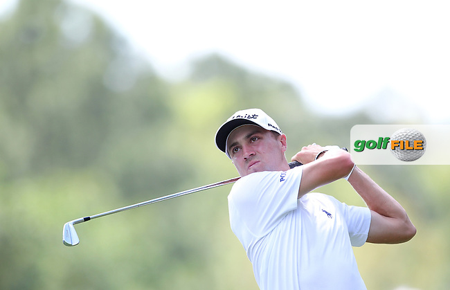Justin Thomas of USA watches his drive from the 2nd tee during the 3rd round of the Valspar Championship, Innisbrook Resort (Copperhead), Palm Harbor, Florida, USA<br /> Picture: Peter Mulhy / Golffile