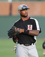 Center fielder Jordan Akins (5) of the Hickory Crawdads before a game against the Greenville Drive on Sunday, September 2, 2012, at Fluor Field at the West End in Greenville, South Carolina. Akins is the Texas Rangers' No. 12 prospect, according to Baseball America. Hickory won, 8-4. (Tom Priddy/Four Seam Images)