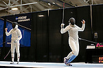 25 MAR 2016:  Columbia's Jackie Dubrovich celebrates a point during her match in the finals of the Division I Women's Fencing Championship held at the Gosman Sports and Convention Center in Waltham, MA. Dubrovich was defeated by Ohio State's Eleanor Harvey 15-10 in the women's foil event.  Damian Strohmeyer/NCAA Photos