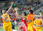 "Bojan Bogdanovic of Croatia (C) fights for the ball with Spain`s Sergio Llull (L) and Victor Claver (R) during European basketball championship ""Eurobasket 2013""  basketball game for 3rd place between Spain and Croatia in Stozice Arena in Ljubljana, Slovenia, on September 22. 2013. (credit: Pedja Milosavljevic  / thepedja@gmail.com / +381641260959)"