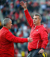 Ohio State Buckeyes head coach Urban Meyer yells against Maryland Terrapins during the 4th quarter of their game at Capital One Field at Maryland Stadium in College Park, Maryland on November 17, 2018. [Kyle Robertson/Dispatch]