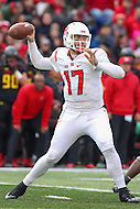 College Park, MD - November 26, 2016: Rutgers Scarlet Knights quarterback Giovanni Rescigno (17) throws a pass during game between Rutgers and Maryland at  Capital One Field at Maryland Stadium in College Park, MD.  (Photo by Elliott Brown/Media Images International)