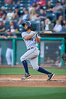 Anibal Sierra (14) of the Round Rock Express bats against the Salt Lake Bees at Smith's Ballpark on June 10, 2019 in Salt Lake City, Utah. The Bees defeated the Express 9-7. (Stephen Smith/Four Seam Images)