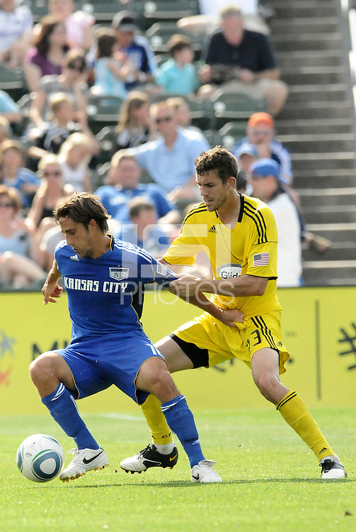 Josh Wolff (blue), Eric Brunner...Kansas City Wizards were defeated 1-0 by Columbus Crew at Community America Ballpark, Kansas City, Kansas.