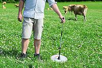 DEUTSCHLAND, , Versuchsgut Lindhof der UNI Kiel, Forschungsschwerpunkt ökologischer Landbau und extensive Landnutzungssysteme, Erforschung optimale Weidehaltung von Milchkuehen, Versuchsdurchfuehrung Herr Dr. Loges, Messung Weidewachstum