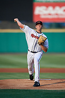 Rochester Red Wings starting pitcher Aaron Slegers (32) delivers a pitch during a game against the Lehigh Valley IronPigs on June 30, 2018 at Frontier Field in Rochester, New York.  Lehigh Valley defeated Rochester 6-2.  (Mike Janes/Four Seam Images)