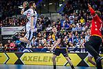 Patrick Wiesmach Larsen (SC DHfK Leipzig #4) ; Johannes Bitter (TVB Stuttgart #1)  beim Spiel in der Handball Bundesliga, TVB 1898 Stuttgart - SC DHfK Leipzig.<br /> <br /> Foto © PIX-Sportfotos *** Foto ist honorarpflichtig! *** Auf Anfrage in hoeherer Qualitaet/Aufloesung. Belegexemplar erbeten. Veroeffentlichung ausschliesslich fuer journalistisch-publizistische Zwecke. For editorial use only.