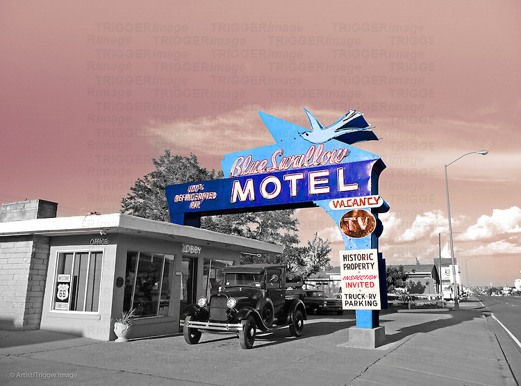 Edited vintage scene with classic cas under motel sign in USA