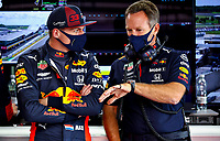 1st August 2020, Silverstone, Northampton, UK; FIA Formula One World Championship 2020, Grand Prix of Great Britain,  qualifying;  33 Max Verstappen NLD, Aston Martin Red Bull Racing takes 3rd on pole, speaks with Christian Horner GBR, Aston Martin Red Bull Racing